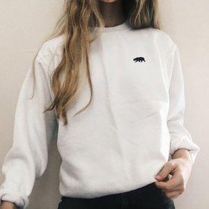 brandy melville white erica bear sweater